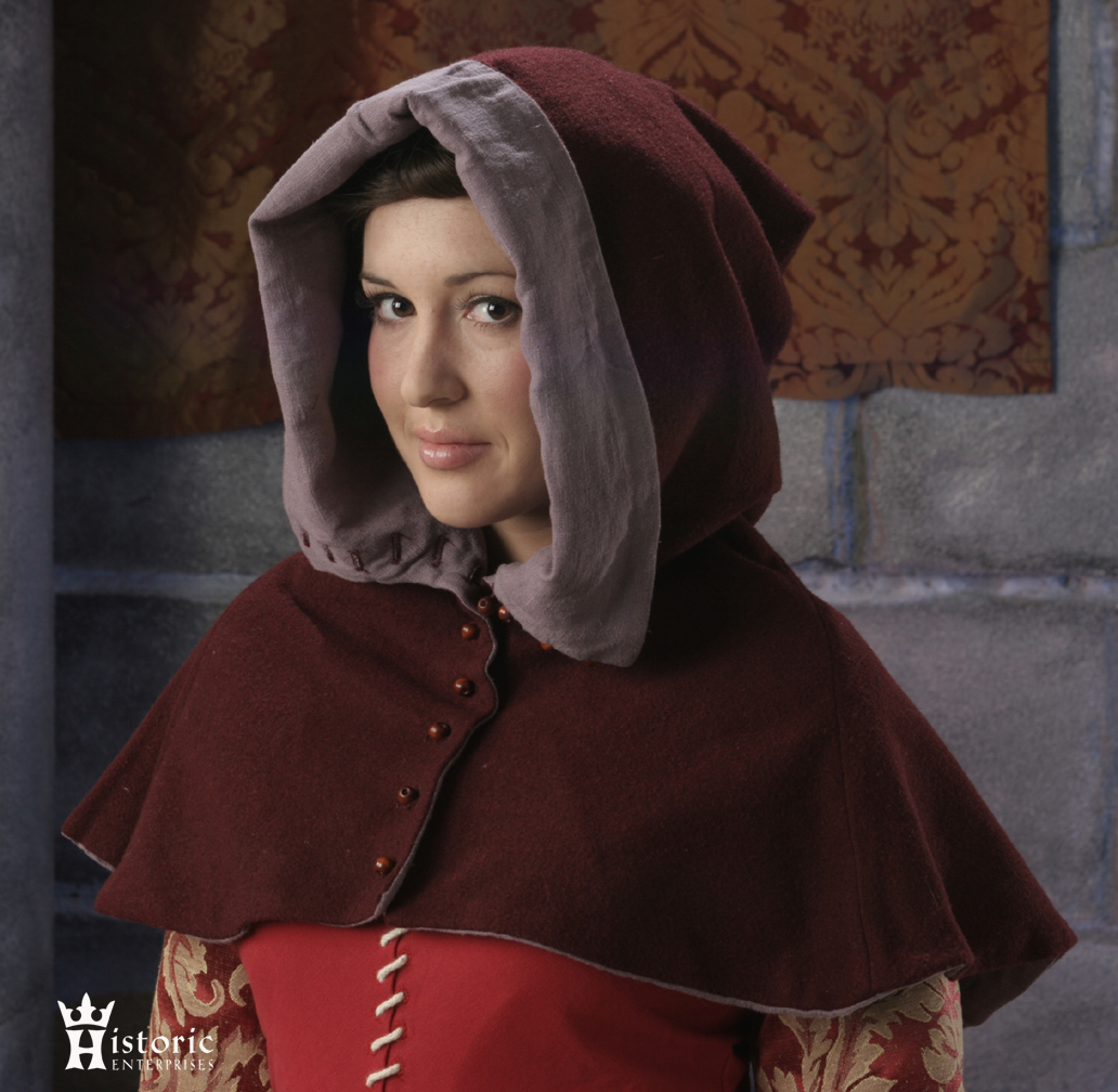 Hood, Buttoned 'London' Style, 14th-15th Century, Wool